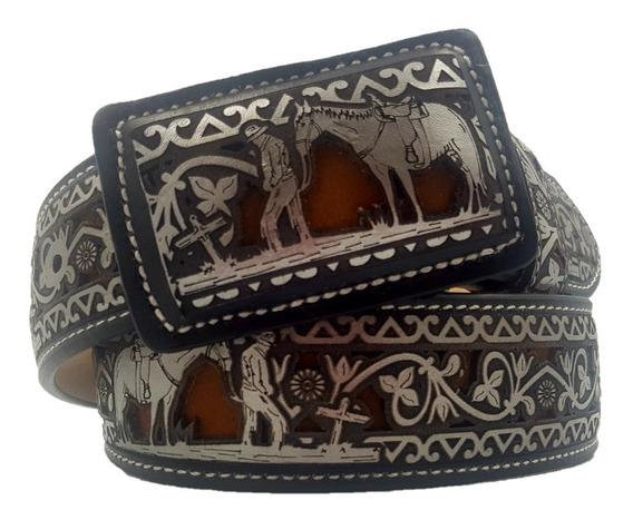 Cinturón Corte A Láser Vaquero 100 % Piel
