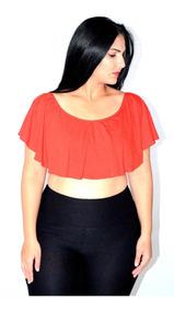 Cropped Com Babado Várias Cores Top - Moda Maior Plus Size