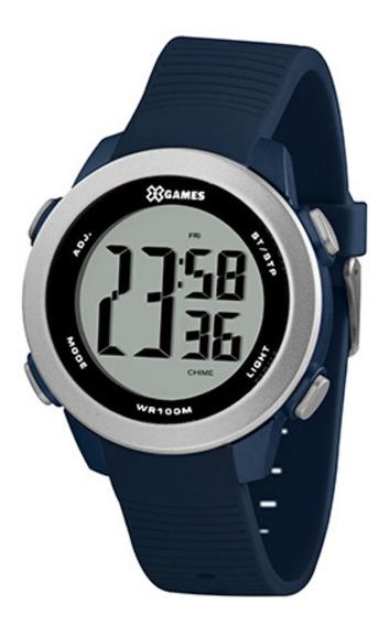 Relógio Masculino Azul E Prata X-games Digital Original + Nf