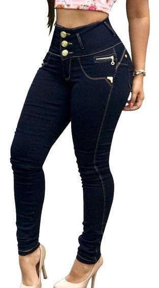 Calça Barata Cós Alto Hot Pants Lycra Botões Estilo Pit Bull