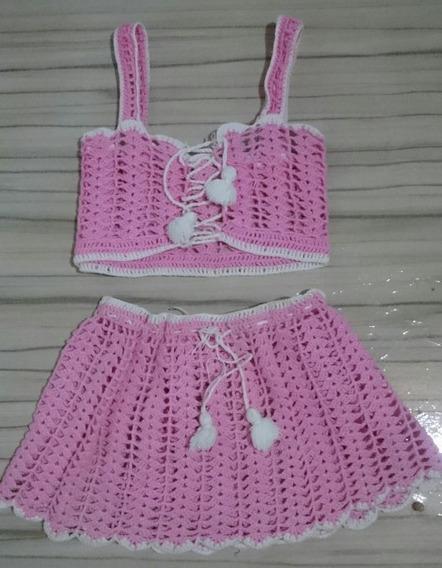Conjunto Saia E Top Cropped Bebê Artesanal Croché Book Foto