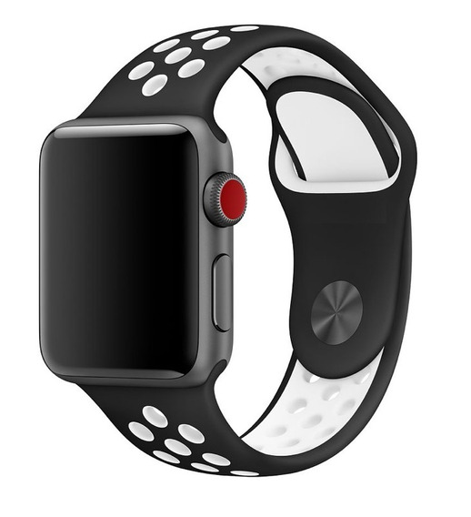 Pulseira Estilo Nike Para Apple Watch 42/44mm - Preto Com Branco