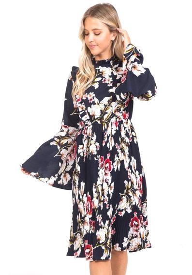 Vestido Midi Casual Floral, Cuello Alto, Plisado, Elegante.