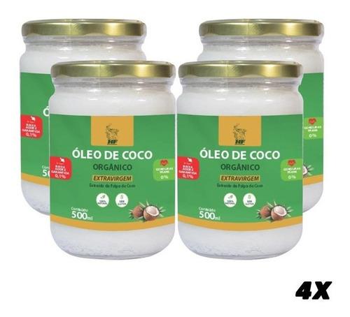 Imagem 1 de 3 de 4x Oleo De Coco 500ml Orgân. Extravirgem Hidrata Cabelo Pele