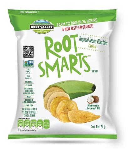 Imagen 1 de 6 de Botana Plátano Verde Tropical Root Smarts 23g - 6 Unidades