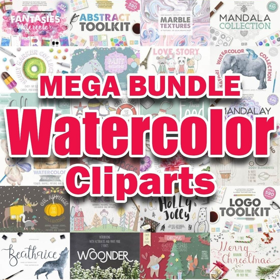 Kits Watercolor Cliparts De Moda Hiper Bundle 10k Files 32gb