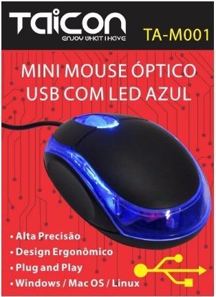Mouse Mini Usb Fio 1000dpi Led Azul Novo