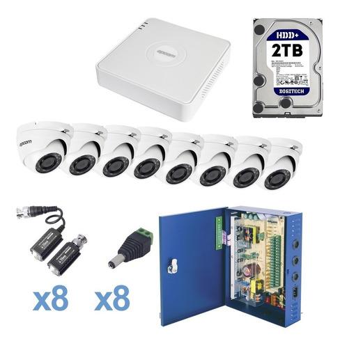 Kit Cctv 8ch Epcom Turbohd Visión Nocturna Todo Incluido 2tb