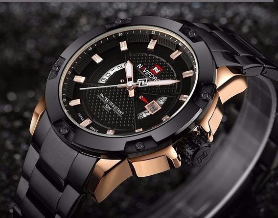 Relógio Masculino Naviforce Nf9085 Original Preto C/ Dourado