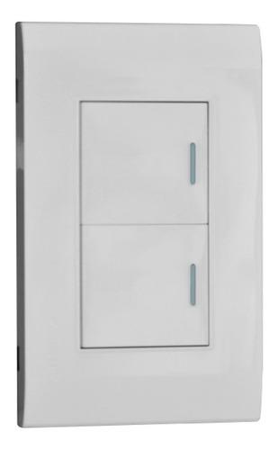 Imagen 1 de 2 de Interruptor Doble Conmutable Blanco Premium White De Lujo