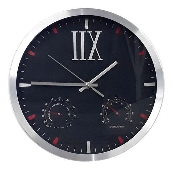 Relogio Luxo De Inox Parede Termometro Temperatura E Umidade
