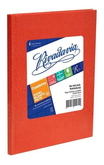 Cuaderno Rivadavia Tapa Dura X98 Hjs Rayado Rojo