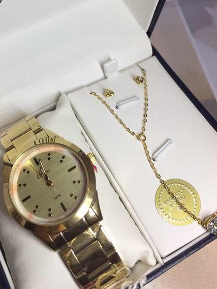 Relógio Feminino Allora Technos Kit Semijoia Al2035fkj/k4t