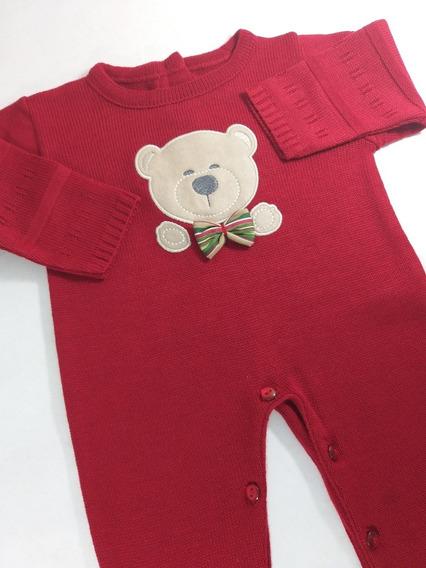Macacão De Trico Linha Menino Cor Vermelho Urso S/ Body