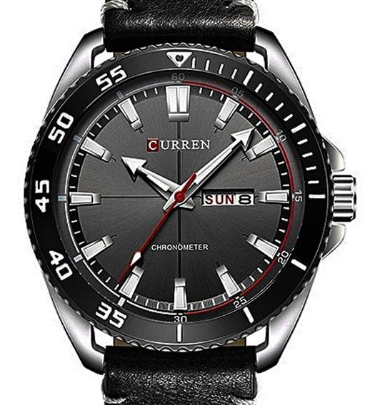 Relógio Masculino Curren Pulseira Couro Original Garantia