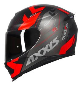 Capacete Axxis Eagle Diagon Matt Black/red + Viseira