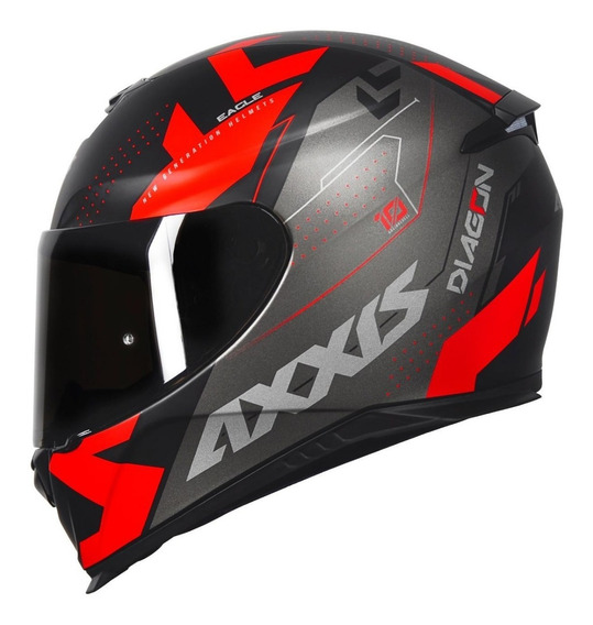 Capacete Axxis Eagle Diagon Matt Black/red + Viseira