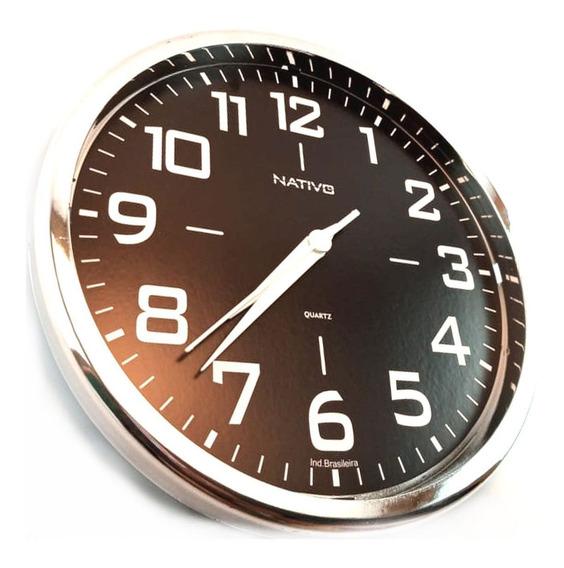 Relógio Original De Parede Redondo Metalizado 23 Cm Cromo