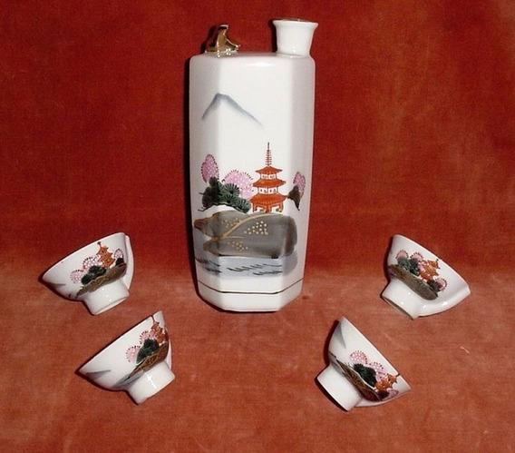 Set Licor Sake Kamotsu 5 Pzs Porcelana Japonesa Silbadoras