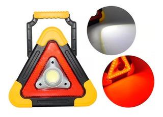 Triangulo De Seguridad Luz Led Con Foco Recargable Solar
