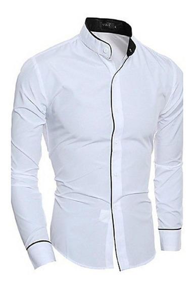 Camisas Slim Fit Cuello Mao Algodon