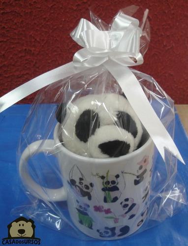 Caneca Presente Lembrancinha De Porcelana + Urso Panda 15cm