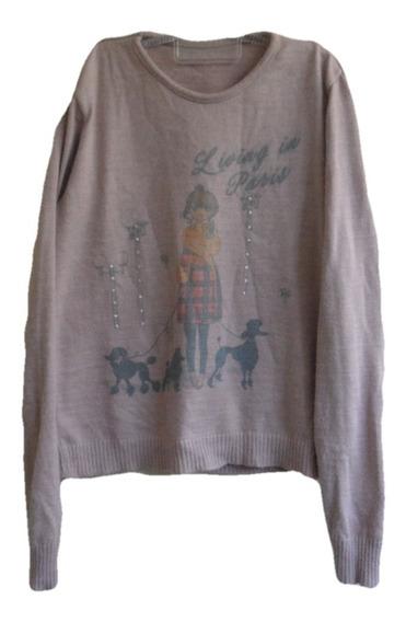 Suéter Blusa Lã Agasalho Tricô Menina Lilás 14-16 Anos