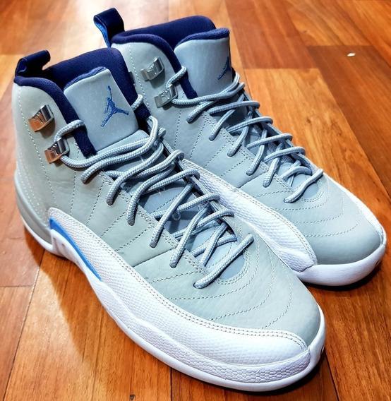 Air Jordan Retro 12 Gs Grey University Blue