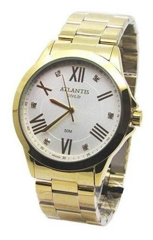 Relógio Atlantis Feminino G3494 - Dourado Fundo Branco