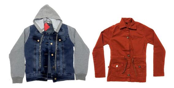 Conjunto Infantil E Juvenil Jaqueta Jeans + Sobretudo Sarja