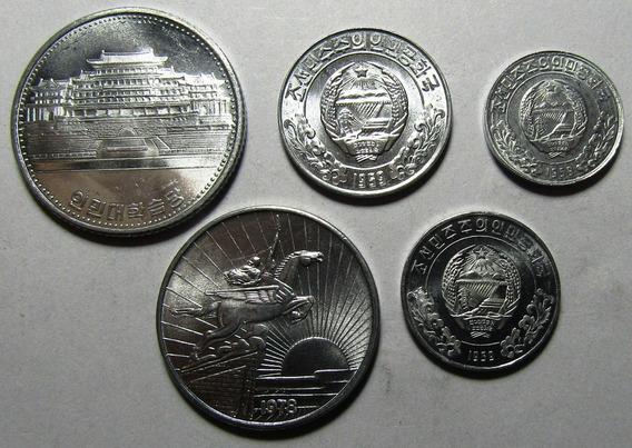 Corea Del Norte Set De 5 Monedas 1959 1987 Unc Sin Circular