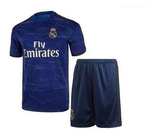 Kit Camiseta + Short Futbol Real Madrid Suplente Niño Nene