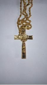 Cordao Dourado Com Crucifixo - Modelo 2, Cod. 00073