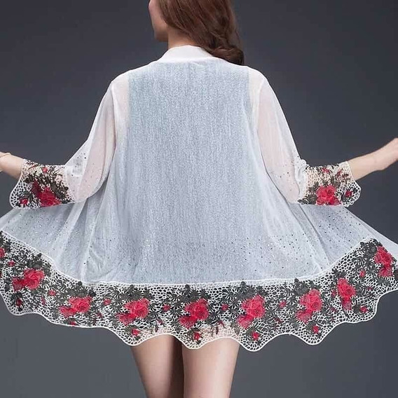 Kimono Transparente Importado Com Flores Na Borda Feminino