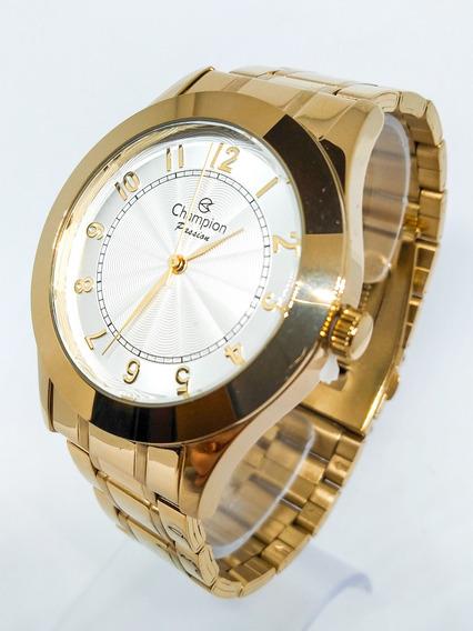 Relógio Original Champion Dourado + Pulseira Cn24137s C/nf-e