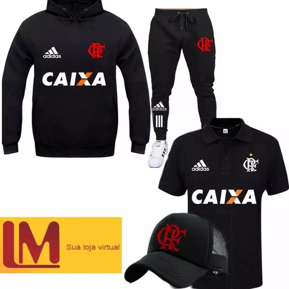 Conjunto Blusa Flamengo Camiseta Polo Calça Moletom Bone
