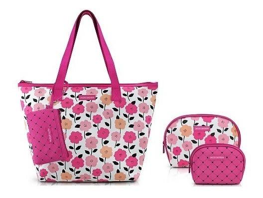 Kit Bolsa Feminina C/ 3 Necessaires Jacki Design
