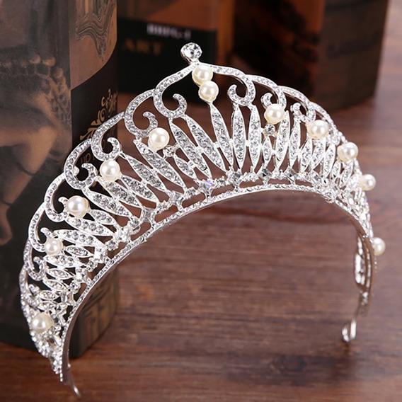 Corona Tiara Plateada Reina Coronación Boda Xv Cristal Pearl