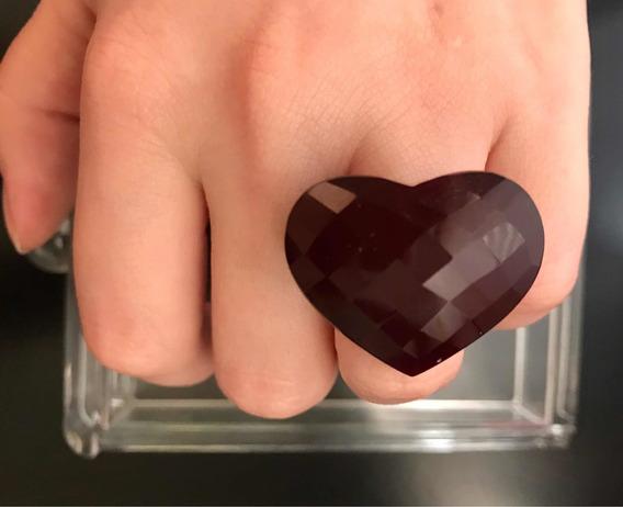 Anel De Coração Facetado Em Pedra Rubi Aro 16