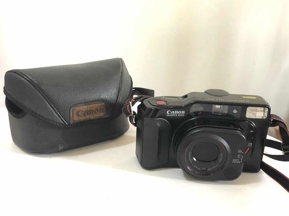 Câmera Antiga Canon Quartz Date Sure Shot Tele + Manual