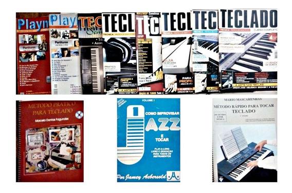 Lote 11 Revistas Partituras Teclado Música Manual De Curso