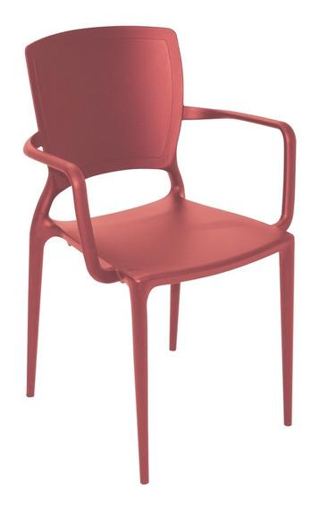 Cadeira Com Bracos Sofia Fechada Vermelho