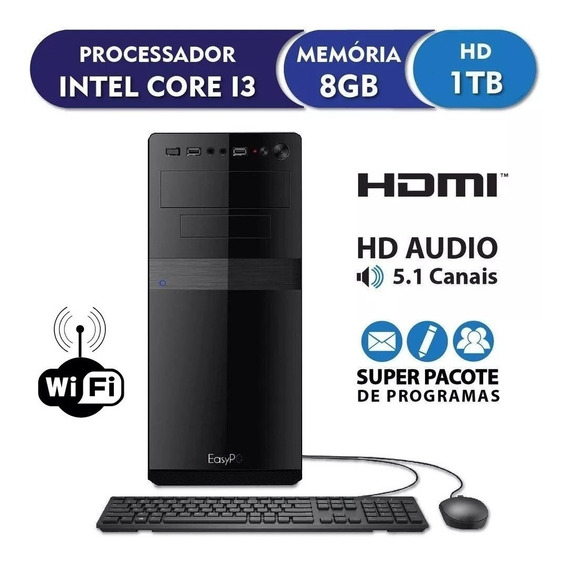 Pc Cpu Intel Core I3+8gb Ram+hd 1tb+dvdrw+wi Fi+ Vga 1gb