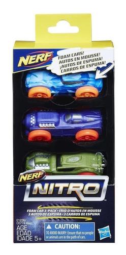 Imagen 1 de 7 de Nerf Nitro Set Foam Cars 3 Autos (1578)