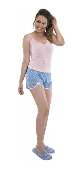 Conjunto Feminino Short Regata Alcinha Puff - 9068661 Azul