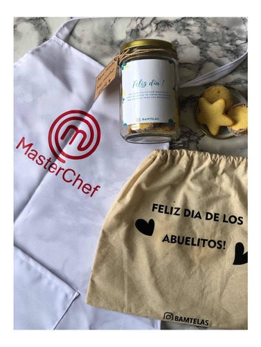 Imagen 1 de 6 de Pack Día De Los Abuelos Delantal Personalizado + Bollon