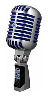 Micrófono Shure Super 55 supercardioide cromado/azul