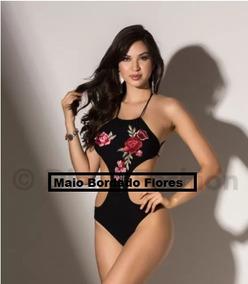 Maiô Feminino Engana Mamãe Bordado Moda Praia