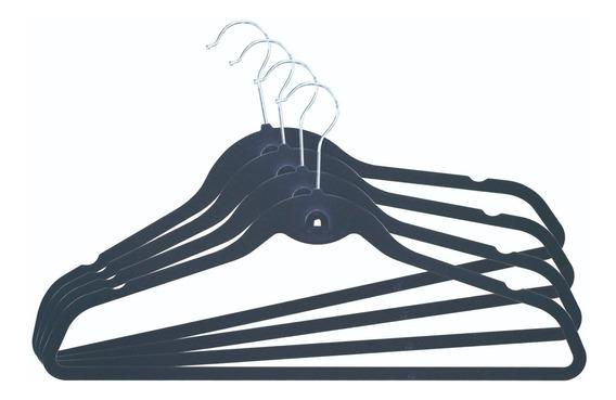 Perchas Terciopelo Antideslizante X80 Negras Begônia