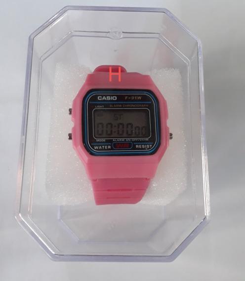 Relógio Feminino Cor De Rosa, Com Alarme E Lanterna.